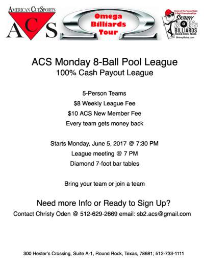 ACS League at Skinny Bobs Mon Night League